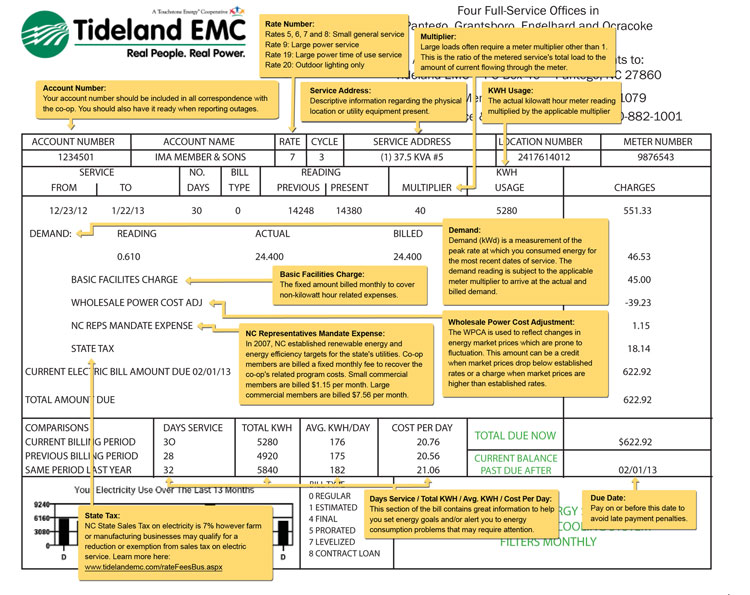 Commercial Electric Bill Details Small